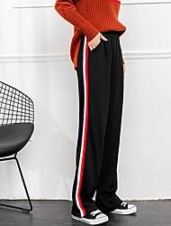 abordables -Mujer Casual Chic de Calle Tiro Alto Perneras anchas Chinos Pantalones,Un Color A Rayas Algodón Poliéster Elastán Todas las Temporadas
