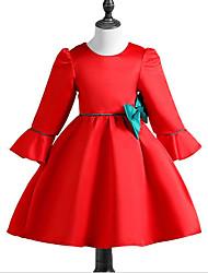 Robe Fille de Décontracté / Quotidien Imprimé Coton Polyester Printemps, Août, Hiver, Eté Manches 3/4 simple Vert Rouge