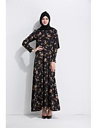 abordables -Femme Trapèze Balançoire Jalabiyah Robe - Fleur, Fleur Taille haute Maxi