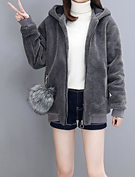 cheap -Women's Daily Wear Holiday Simple Casual Active Winter Fall Fur Coat,Solid High Neck Long Sleeves Regular Cashmere