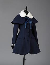 cheap -Winter Sweet Lolita Cape Coat Princess Wool Women's Adults' Girls' Coat Cosplay Cyan Long Sleeves