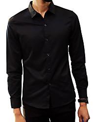 Недорогие -Муж. Офис Чистый цвет Рубашка Хлопок Активный / Уличный стиль Однотонный / Длинный рукав