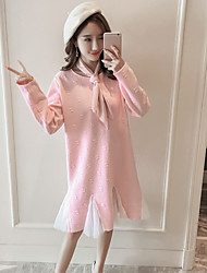 cheap -Women's Daily Trumpet/Mermaid Dress,Solid Round Neck Knee-length Long Sleeves Cotton Mid Rise Micro-elastic Thick