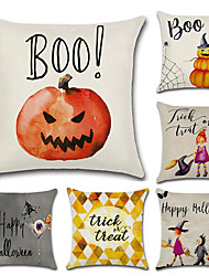 cheap -Set Of 6 Halloween Pumpkin Witch Printing Pillow Cover Classic Square Pillow Case 45*45Cm Sofa Cushion Cover