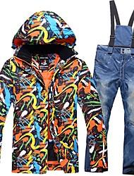 cheap -Men's Ski Jacket with Pants Warm, Waterproof, Windproof Ski / Snowboard / Winter Sports Cotton Down Jacket Ski Wear