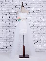 abordables -Mariage Fête / Soirée Déshabillés Coton Nylon Chinlon Longueur Cathédrale Brillant Jupe Mode Mariage avec Nœud papillon blanc