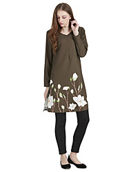 cheap -Women's Wear to work Daily Wear Vintage Casual Boho Street chic Kaftan Dress,Floral Color Block Round Neck Above Knee Long Sleeve Linen
