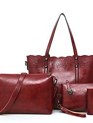 baratos -Mulheres Bolsas PU Conjuntos de saco Conjunto de bolsa de 4 pcs Ziper para Compras / Escritório e Carreira Vermelho / Cinzento / Marron