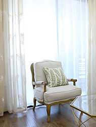 Pencil Pleat Double Pleat Grommet Top Curtain Contemporary Casual , Solid Geometric Bedroom Polyester Material Sheer Curtains Shades Home