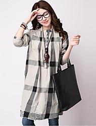 cheap -Women's Daily Going out Cute Street chic Shirt,Check Shirt Collar Long Sleeves Polyester
