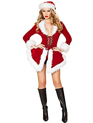 Santa Claus Mrs.Claus Outfits Female Christmas Festival / Holiday Halloween Costumes Red Solid Holiday