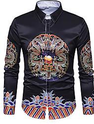 Masculino Camisa Social Casual Vintage Outono,Sólido Algodão Acrílico Outros Colarinho de Camisa Manga Longa