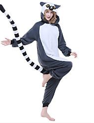 cheap -Kigurumi Pajamas Lemur Monkey Onesie Pajamas Costume Polar Fleece Synthetic Fiber Gray Cosplay For Adults' Animal Sleepwear Cartoon