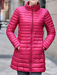Women's Down Coat,Casual Active Daily To-Go Solid-Polyester Long Sleeves