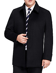 cheap -Men's Daily Simple Casual Winter Fall Regular Coat,Solid Shirt Collar Wool Polyester