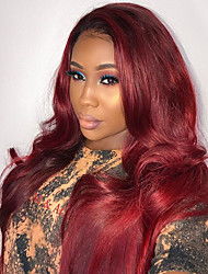 cheap -New Ombre T1B/RED 100% Brazilian Human Hair Kinky Curly Lace Front Wig Human Hair  Natural Hair Lace Front Wigs For Woman With Baby Hair
