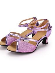 baratos -Mulheres Sapatos de Dança Latina Paetês / Courino Salto Lantejoula Salto Personalizado Personalizável Sapatos de Dança Roxo / Espetáculo