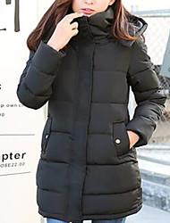 preiswerte -Damen Daunen Mantel,Lang Einfach Lässig/Alltäglich Solide-Polyester Polypropylen Langarm Blau / Rosa / Schwarz