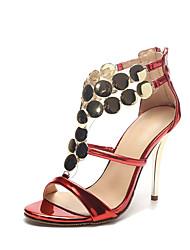 Sandalen-Hochzeit Kleid Party & Festivität-Lackleder-Stöckelabsatz-Neuheit Club-Schuhe-Rot Silber Gold