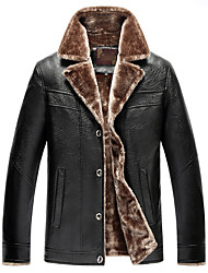 cheap -Men's Chinoiserie Leather Jacket - Color Block, Fur Trim Shirt Collar / Long Sleeve