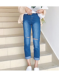 Women's High Rise Inelastic Jeans Pants Pants,Vintage Casual Solid Hollow Cotton All Seasons