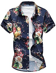 cheap -Men's Daily Plus Size Chinoiserie Summer Shirt,Floral Square Neck Short Sleeves Cotton Polyester Medium