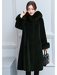 cheap -Women's Daily Simple Casual Winter Fur Coat,Solid Hooded Long Sleeves Long Faux Fur