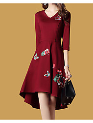 cheap -Women's Daily Going out Vintage A Line Knee-length Dress, Floral V Neck Long Sleeves Fall
