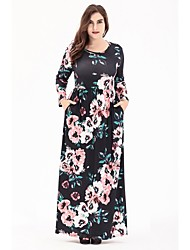 cheap -Women's Causal Going out Casual A Line Dress,Floral Round Neck Maxi Long Sleeve Polyester Elastane Spring Summer High Rise strenchy Thin
