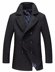 cheap -Men's Daily Simple Casual Winter Coat,Solid V Neck Long Sleeves Long Cotton Buckle