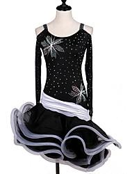 cheap -Shall We Latin Dance Dresses Women's Performance Organza Velvet Chiffon Crystals/Rhinestones Cascading Ruffles Long Sleeve Dress