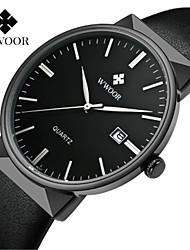 levne -WWOOR Pánské Módní hodinky Křemenný Kalendář Voděodolné Kůže Kapela Na běžné nošení Černá