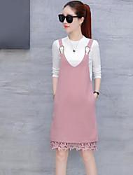 Tee-Shirt Robes Costumes Femme,Couleur Pleine Sortie simple Automne Manches Longues Col Arrondi Coton Polyester