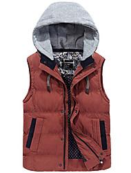 cheap -Men's Regular Vest Coat,Casual Sports Plus Size Color Block-Cotton Rayon Down Sleeveless