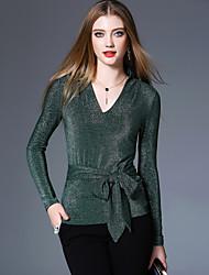 baratos -Mulheres Camiseta - Para Noite Moda de Rua Sólido Decote V