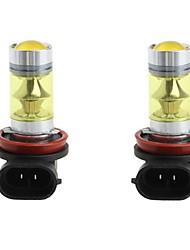 L'alto potere h11 smd3030 di 2pcs 100w ha condotto la lampadina dc9-30v di guida gialla 3030 della nebbia principale