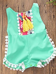 cheap -Baby Girls' Party Daily Beach Geometric Embroidered One-Pieces,Cotton Summer Dresswear Sleeveless Green