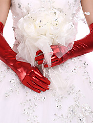cheap -Faux Leather Opera Length Glove Bridal Gloves Party/ Evening Gloves With Rhinestone