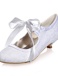 cheap -Women's Shoes Lace Spring Summer Basic Pump Wedding Shoes Kitten Heel Round Toe Ribbon Tie for Wedding Party & Evening White Blue Pink