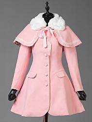 Недорогие -Сладкое детство Принцесса Шерсть Жен. Девочки Взрослые Пальто Косплей Розовый Длинный рукав
