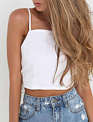 cheap -Women's Vintage Polyester Tank Top - Solid Halter