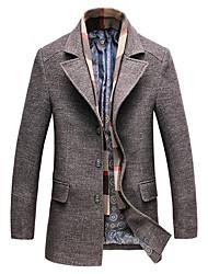 Men's Daily Vintage Winter Fall Coat,Solid V-neck Long Sleeves Regular Wool