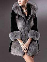 abordables -Manteau en Fourrure Femme,Couleur Pleine Quotidien simple Décontracté Hiver Col en V Normal Fausse Fourrure