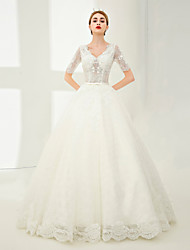 Ball Gown V-neck Floor Length Lace Tulle Wedding Dress with Beading Lace by SG