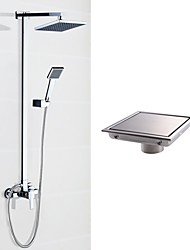 Modern/Contemporary Shower System Rain Shower Handshower Included with  Ceramic Valve Two Holes for  Chrome , Shower Faucet