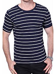 abordables -Hombre Sensual Casual/Diario Tallas Grandes Verano Camiseta,Escote Redondo A Rayas Manga Corta Algodón Licra Medio