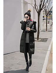 Dámské Dlouhé Dlouhý kabát Jednoduchý Jdeme ven Jednobarevné-Kabát Šetrný k životnímu prostředí Polyester Dlouhý rukáv
