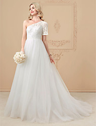 cheap -A-Line Princess One Shoulder Court Train Lace Tulle Wedding Dress with Beading Appliques by LAN TING BRIDE®