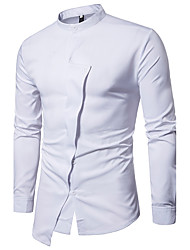 cheap -Men's Daily Going out Vintage Spring/Fall Shirt,Solid Shirt Collar Long Sleeves Cotton