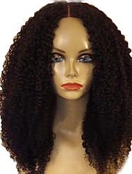Недорогие -Натуральные волосы Бесклеевая сплошная кружевная основа / Полностью ленточные Парик Бразильские волосы Kinky Curly Парик С пушком 150% Природные волосы Жен. Средние / Кудрявый вьющиеся